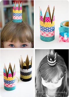 Simple party crowns. Easy DIY out of toilet paper roll, paint, add stickers or glue on ribbon for bling. Use elastic string.