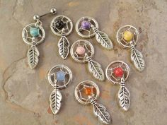 Small Dream Catcher Tragus Piercing YOU CHOOSE Gemstone Cartilage Barbell on Etsy, $18.00
