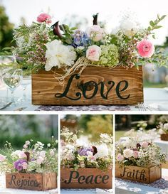 "Baby's Breath Wedding Decor Ideas: Classy and Romantic wooden box centerpieces or other decoration IDEA: have each of the ""love is…"" From 1 cor. Wooden Box Centerpiece, Rustic Wedding Centerpieces, Centerpiece Decorations, Flower Centerpieces, Table Centerpieces, Wedding Decorations, Communion Centerpieces, Vintage Centerpieces, Flowers Decoration"