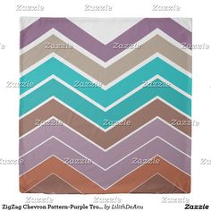 ZigZag Chevron Pattern-Purple Tropical Duvet Cover