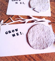 Plantable seed tape - add dried flowers or use colored paper for more variety - I used colored construction paper. I sprinkled the seeds on top of the sheets instead of mixing them in so they didn't get too wet. I also cut my shapes into flowers. They made very pretty cards.