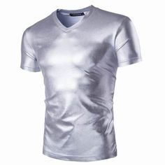 Mens Gold Foiling T-shirts Party Performance Short Sleeve Slim Fit V Neck T-shirts
