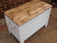*New Unused Shabby Chic Rustic Wooden Solid Pine Toy Blanket Shoe Box Chest *