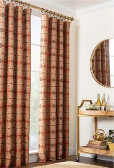 Bring beauty and color to your surroundings with a curtain panel that creates a fresh new rhythmic take on traditional repeat patterns. Finials For Curtain Rods, Curtain Rod Hardware, Sheer Curtain Panels, Lined Curtains, Outdoor Curtains, Indoor Outdoor Rugs, Pillow Sale, Rug Sale, Colorful Decor