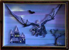 Картина панно рисунок Поделка изделие Квиллинг Ужас летящий на крыльях ночи Квиллинг Бумажные полосы фото 9