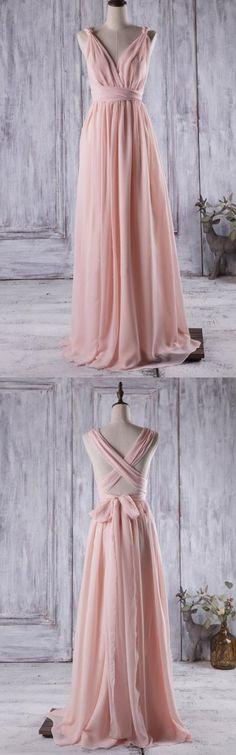 pink bridesmaid dress, long bridesmaid dress, 2017 bridesmaid dress, chiffon bridesmaid dress party dress