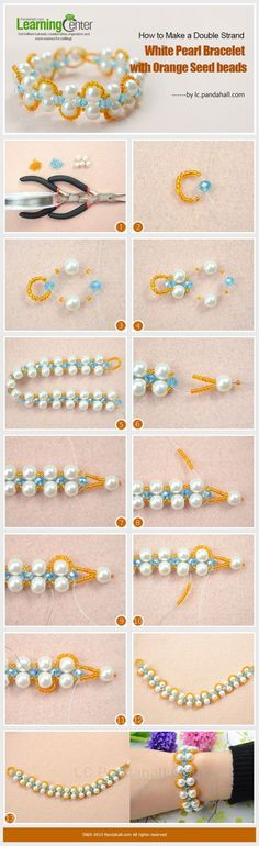 How to Make a Double Strand White Pearl Bracelet with Orange Seed beads by wanting
