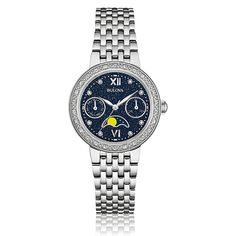 Bulova Ladies Diamond Stainless Steel Bracelet Watch 32mm 96R210
