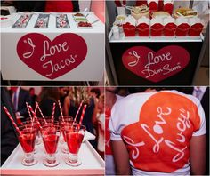 Theme-Inspired Bat Mitzah Catering, Food & Drink - Red I Love Lucy Heart Logo {Photo by 5th Avenue Digital} - mazelmoments.com