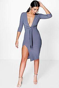 Shay Plunge Tie Detail Front Split Midi Dress