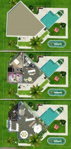 House 25 - The Sims 4 - Miriam Garnica The Sims 4 Houses, Sims 3 Houses Plans, Sims 3 Houses Ideas, Sims 4 Houses Layout, Sims 4 Modern House, Sims 4 House Design, Sims Ideas, House Ideas, Lotes The Sims 4