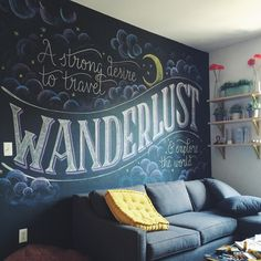 Wanderlust: a strong desire to travel and explore the world ✨☀️✈️❤️ How darling does my studio look with this new chalkboard mural collab by @crispagnoncelli and myself? (The answer is SO DARLING!) #type #typography #lettering #handlettering #chalk #chalkboard #chalklettering #wanderlust #brooklyn #goodtype
