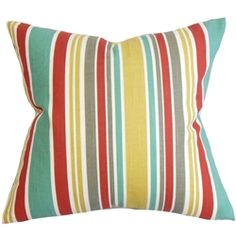 Showcase this bold-colored throw pillow to your family room, bedroom or living room. Alternating stripes of blue, teal, yellow, gray, red and white create an appealing detail in this square pillow. Perfectly great on its own, this decor pillow perfectly suits various themes and settings. Made from 100% soft cotton material. $55.00 #decorpillow #accentpillow #pillows