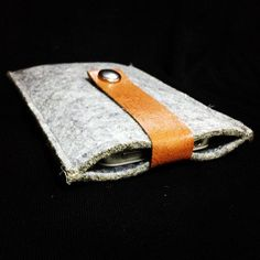Grey Wool Felt and Light Brown Leather iPhone Sleeve. $12.95