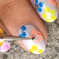 Fun floral neon mani by @naildecor