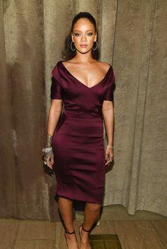 Loving the deep burgondy deep v dress---->Rihanna