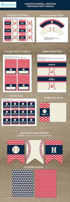 Baseball Printable  Baseball Birthday  Sports by EllisonReed