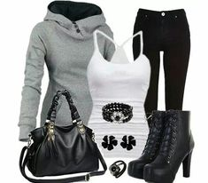 Blck whte grey outfit with short combat boots