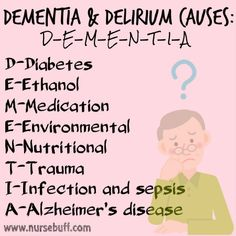 Remember: Delirium has a rapid onset and is temporary while dementia is progressive and often secondary to chronic neurological disorders such as Alzheimer's disease.