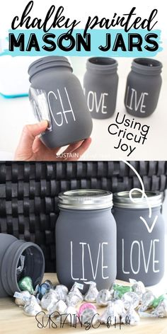 It's a new year so we're bringing on the new years crafts with this chalky painted mason jar craft using Cricut vinyl cut lettering. Step by step photo tutorial included. #sustainmycrafthabit New Year's Crafts, Fun Diy Crafts, Diy Craft Projects, Home Crafts, Crafts To Make, Craft Ideas, Decor Crafts, Painting Shower, Diy Crafts For Adults