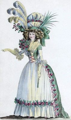 Elaborate bonnet and matching corsage on this 1780s gown. Lots of floral decor on the dresses and hats. Even with flowers in the center of the bust.