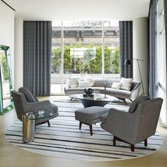 Tribeca Triplex by Amy Lau Design Curved Couch, Couch Design, Best Interior Design, Mid Century Modern Design, Living Room Inspiration, Decoration, Living Spaces, Living Rooms, Home Decor