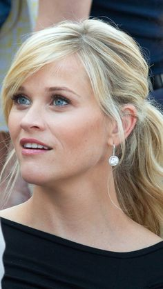 reese witherspoon hair, ponytail, side-swept bangs