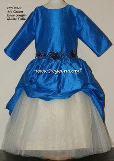 Flower girl dress in blue by pegeen.com