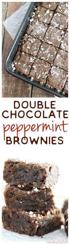 Double Chocolate Peppermint Brownies!  Just add a few ingredients to your box brownie mix and viola - holiday magic!!! ad #bakememories