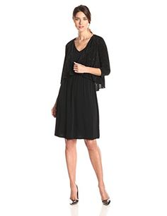 AGB Womens Two Piece Dress Stretch Sheath with Shimmer Cover Up Black 8 >>> You can find out more details at the link of the image.