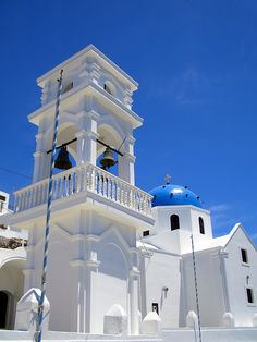 Blue domed Santorini Church, Greece #travel