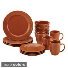 This inviting 16 piece dinnerware set from Rachael Ray Stoneware includes pumpkin orange stoneware dishes featuring a warm, rustic appeal. The durable stoneware dinnerware can be warmed in the oven up to 250 degrees Fahrenheit for 30 minutes and is conven Orange Dinnerware, Stoneware Dinnerware Sets, Casual Dinnerware, Tableware, Kitchenware, Crockery Set, Dinnerware Ideas, Serveware, Rachael Ray Dinnerware