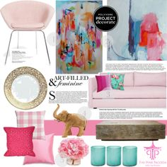 """Art-Filled & Feminine With The Pink Pagoda"" by bklana on Polyvore"