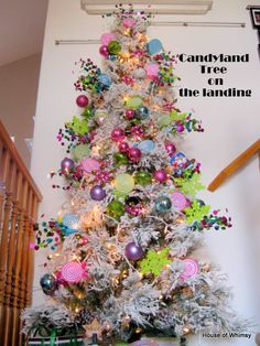 They have half christmas trees so they lay against the wall!! This tree is candyland themed but kind of who-ish.