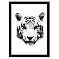 Geometric Animals - TIGER HEAD, Framed Print, 21x27.94cm
