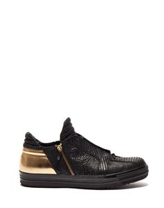 TYSON SNEAKERS IN LEATHER STAMPED WITH A TEJUS PATTERN AND LAMINATED - Shoes Man - Alberto Guardiani