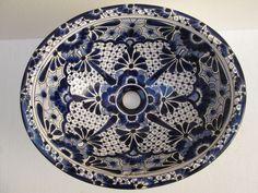 17  TALAVERA SINK drop in mexican bathroom sink handmade ceramic mexico folk art