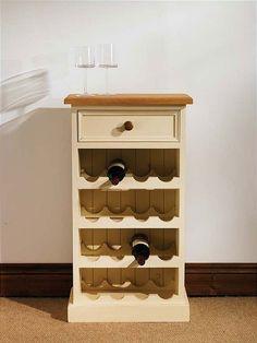 Mottisfont Painted Floor Standing Wine Rack (Cream, Oak, Metal)