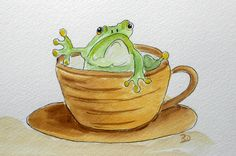 Froggy loves his Coffee, a whimsical watercolor painting