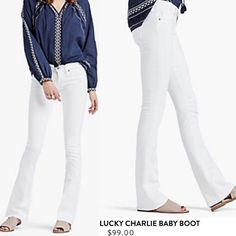 Lucky Brand White Denim Charlie Baby Boots Jeans Look ultra chic in these this summer! A slim fit that's straight through the hip and thigh, with an 18 inch baby bootcut leg opening. Low-rise (8 inch front rise and 12.87 inch back rise to provide appropriate coverage when seated). They have a nice stretch to them- Brand new with tags! Lucky Brand Jeans Boot Cut