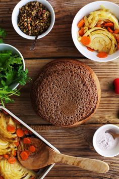 Ethiopian Injera with mustard lentils & cabbage