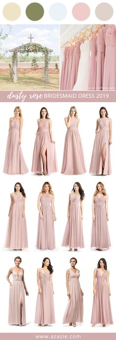 Dusty Rose Bridesmaid Dresses at Azazie Dusty rose is definitely a good match for a Spring wedding. Dusty Rose Bridesmaid Dresses, Dusty Rose Dress, Dusty Rose Wedding, Bridesmaids And Groomsmen, Wedding Bridesmaids, Wedding Party Dresses, Wedding Attire, Wedding Themes, Wedding Ideas