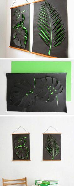 wanddeko selber machen wanddekoration ideen 3d blatter aus grunem und schwarzem papier