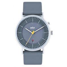Braun Men's Analog Watch - Gray Face, Gray Leather Band $220