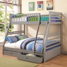 Coaster Bunks Twin over Full Bunk Bed with 2 Drawers and Attached Ladder - Beds N Stuff - Bunk Bed Columbus & Central, Ohio