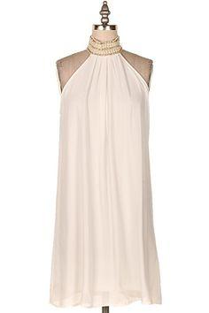 HIGH NECK EMBELLISHED CHIFFON DRESS.   #22H-32985