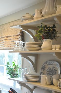 love the brackets, open shelves and styling   nineandsixteen ... christmas in our kitchen