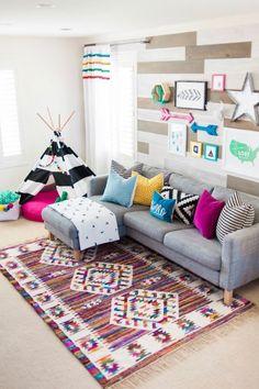 Colorful Playroom Design with The Land of Nod - Gamer House Ideas 2019 - 2020 Playroom Design, Playroom Decor, Playroom Ideas, Kid Playroom, Basement Ideas, Kids Playroom Furniture, Bedroom Furniture, Curtains For Playroom, Gray Playroom