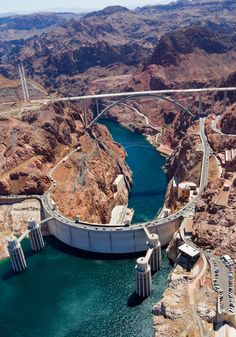 Aerial view of Hoover Dam just outside of Las Vegas, Nevada