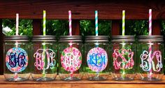Lilly Pulitzer mason jars from @Anna Totten Klimkina Fox Boutique. I want them all! #lillylove #monogram